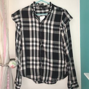 Button down thin flannel blouse